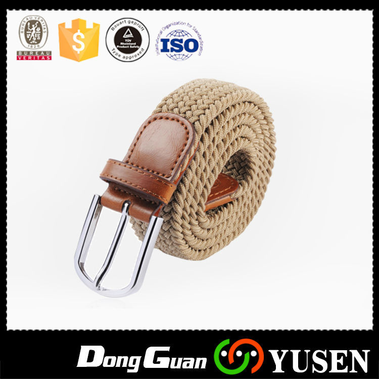 "2017 Hotsale made in china 1.25 ""mens tressé tissu ceinture avec Brun leatherr Onglets Fabrication Les fabricants, fournisseurs, exportateurs, grossistes"